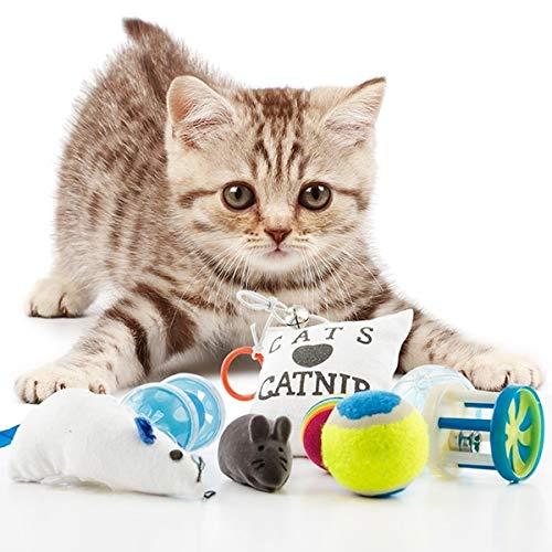 8 juguetes para gatos: 1 amortiguador, 3 bolas, 2 ratones y 2 campanas