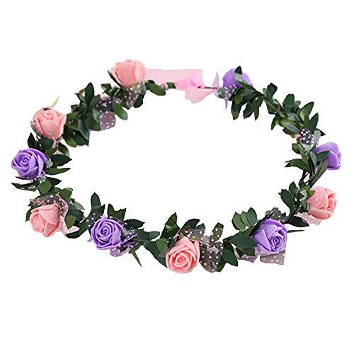 Gilroy Bohemian Rose Flower Crown Headband Bridal Wedding Hair Garland Wreath Headdress - Pink + - Shops Gilroy