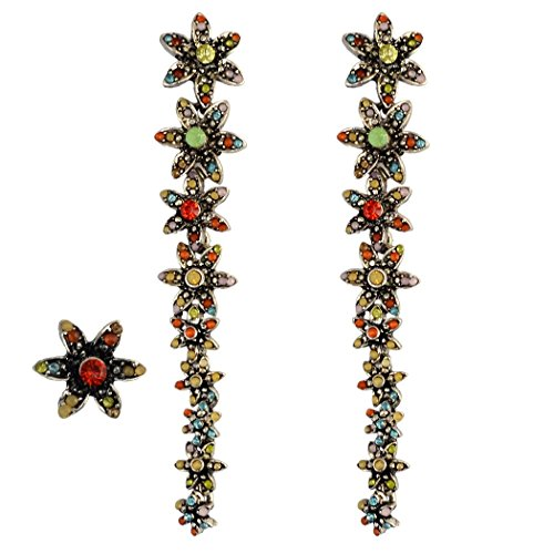 Crystal Drop Earrings Flower (Idealway Multicolor Blooming Flowers Daisy Drop Crystal Rhinestone Long Earrings 3Pcs/set Stud Earring)