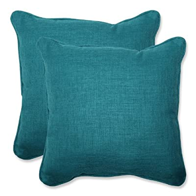"Pillow Perfect Outdoor Rave Teal Throw Pillow, Set of 2, 18.5"", Green - Includes two (2) outdoor pillows, resists weather and fading in sunlight; Suitable for indoor and outdoor use Plush Fill - 100-percent polyester fiber filling Edges of outdoor pillows are trimmed with matching fabric and cord to sit perfectly on your outdoor patio furniture - patio, outdoor-throw-pillows, outdoor-decor - 51psm5x8qeL. SS400  -"
