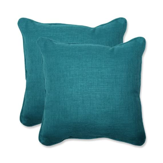 """Pillow Perfect Outdoor Rave Teal Throw Pillow, Set of 2, 18.5"""", Green - Includes two (2) outdoor pillows, resists weather and fading in sunlight; Suitable for indoor and outdoor use Plush Fill - 100-percent polyester fiber filling Edges of outdoor pillows are trimmed with matching fabric and cord to sit perfectly on your outdoor patio furniture - patio, outdoor-throw-pillows, outdoor-decor - 51psm5x8qeL. SS570  -"""