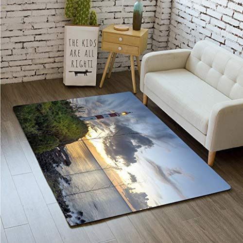 MTSJTliangwan 3D Printing Albion Lighthouse Bathroom Carpet Flannel Foam Shower mat Absorbent Living Room Kitchen Door Carpet Floor ()