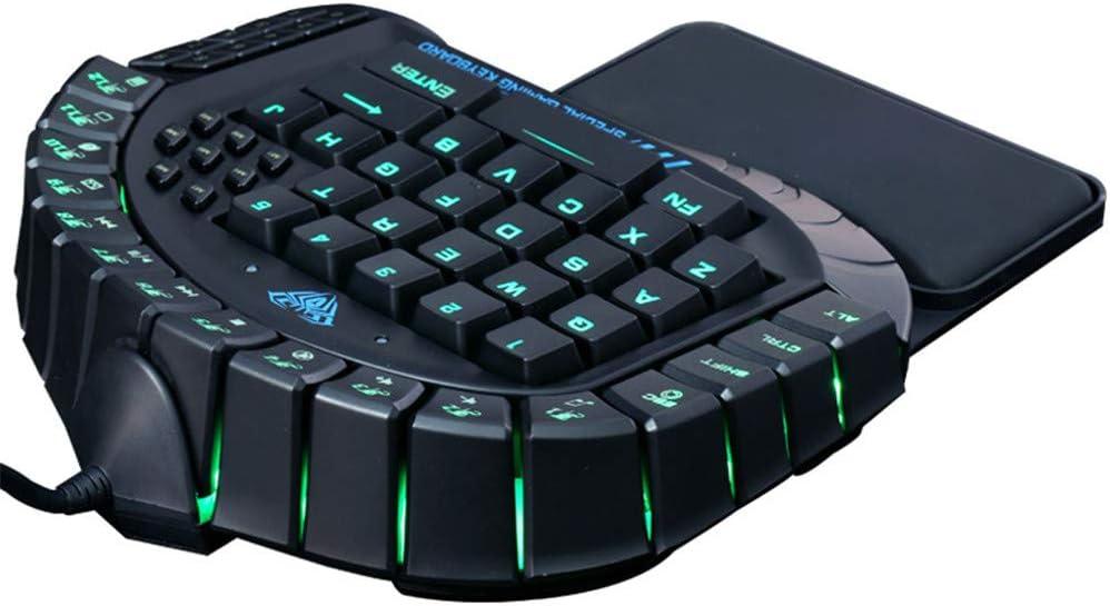 CITW USB Wired Single Hand Keyboard RGB LED Backlight 60 Keys Small Keyboard Wrist Rest Ergonomic Mechanical Mini Keyboard
