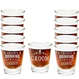 Shop4Ever Groom & Groom's Drinking Team Member Laser Permanently Engraved Shot Glasses Unique Idea For Bachelor Party ~ Wedding Party ~ (1.5 oz., Clear) (1-Groom 11-Groom's Team)(12 Shot Glasses)