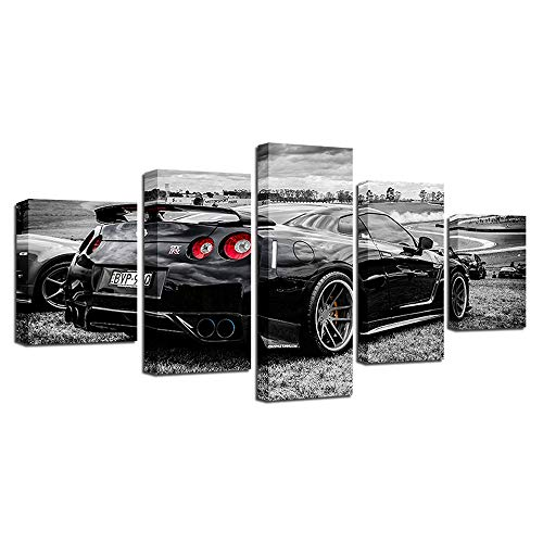 YANGMAN Canvas Wall Art 5 Piece Nissan Skyline GTR R35 Black Drift Car Wall Poster Art Picture Print Fashion Poster for Living Room Home Decoration Poster,A,10x152+10x202+10x251