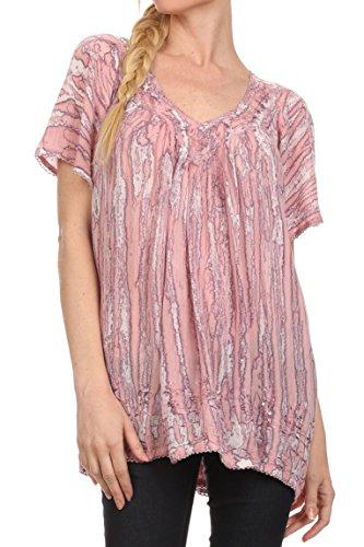 Sakkas 15780 - Elaine Embroidered Batik Scoop Neck Relaxed Fit Flutter Sleeve Blouse - DustyRose - OSP