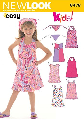 New Look Childrens Easy Sewing Pattern 6478 Dresses & Head Scarf ...