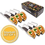 Stainless Steel Taco Holder Stand Rack with Handles by Keysali and Co. 4Pack Server Tray Set with 3 Shell Spaces - Holds 12 Hard Soft Tacos - Food Serve Platter - Oven Grill DishWasher Safe, BPA Free