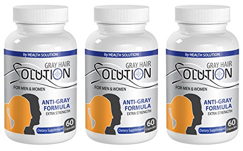 Organic Biotin Vitamins - GRAY HAIR SOLUTION FOR MEN AND WOMEN - Grey hair care (3 Bottles 180 Capsules)