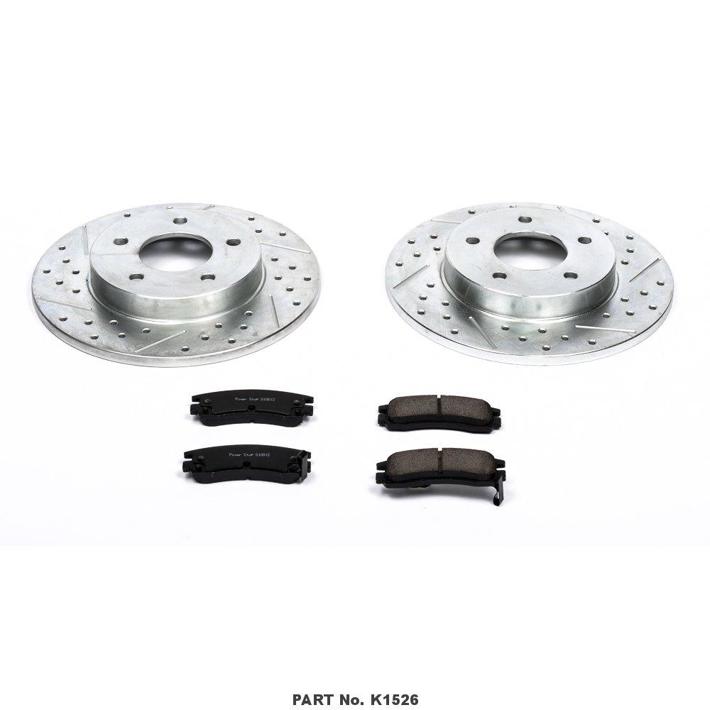 Power Stop K1526 Rear Brake Kit with Drilled//Slotted Brake Rotors and Z23 Evolution Ceramic Brake Pads