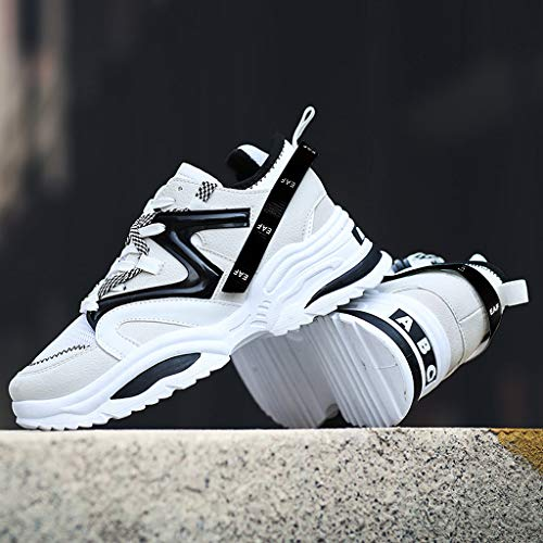 b002da133d15e Wkgre Men's Shoes Breathable Lacing Student Classic Sneakers Refined  Leisure Sports Athletic Running Maxi Shoes (8, White)