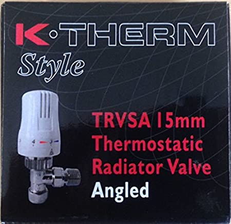15mm K-Therm TRV SA White Angled Thermostatic Radiator Valve