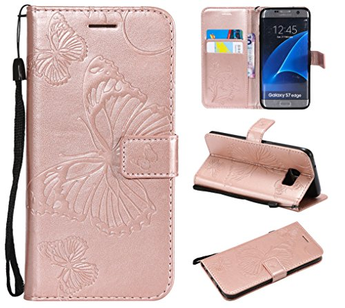 Price comparison product image NOMO Galaxy S7 Edge Case, Galaxy S7 Edge Wallet Case, S7 Edge Case with Card Holders, Folio Flip PU Leather Butterfly Case Cover with Card Slots Kickstand Phone Case for Samsung Galaxy S7 Edge, Rose Gold
