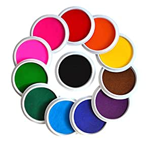 Myboree Washable Large Ink pads for Rubber Stamps Kids Set of 12 Colors