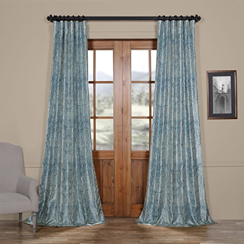 HPD HALF PRICE DRAPES Ptpch-170804-108 Wilton Printed Faux Silk Taffeta Blackout Curtain, 50 x 108, Blue Review