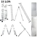 Luisladders 15.5 Feet Multi-purpose Aluminium Folding Extendable Ladder 330 Pound Capacity Safety Locking Hinges Includes 2 Iron Plates