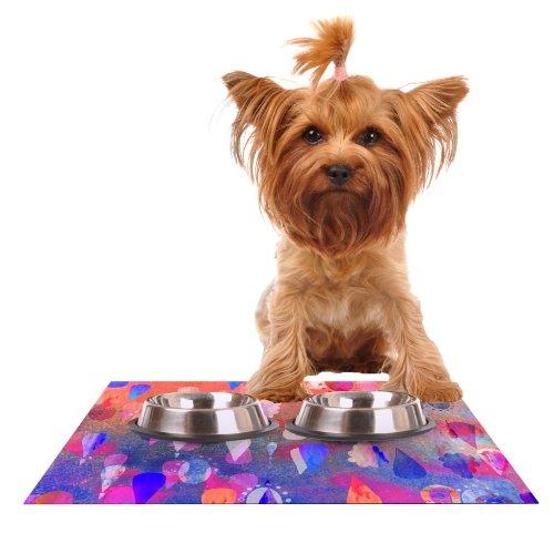 Kess InHouse Nikki Strange Bindi Dreaming  bluee Pink Feeding Mat for Pet Bowl, 24 by 15-Inch