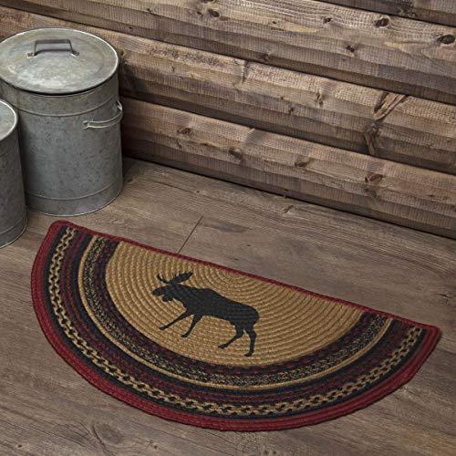 (VHC Brands 37867 Rustic & Lodge Flooring-Cumberland Tan Half Circle Jute Rug, 1'4.5