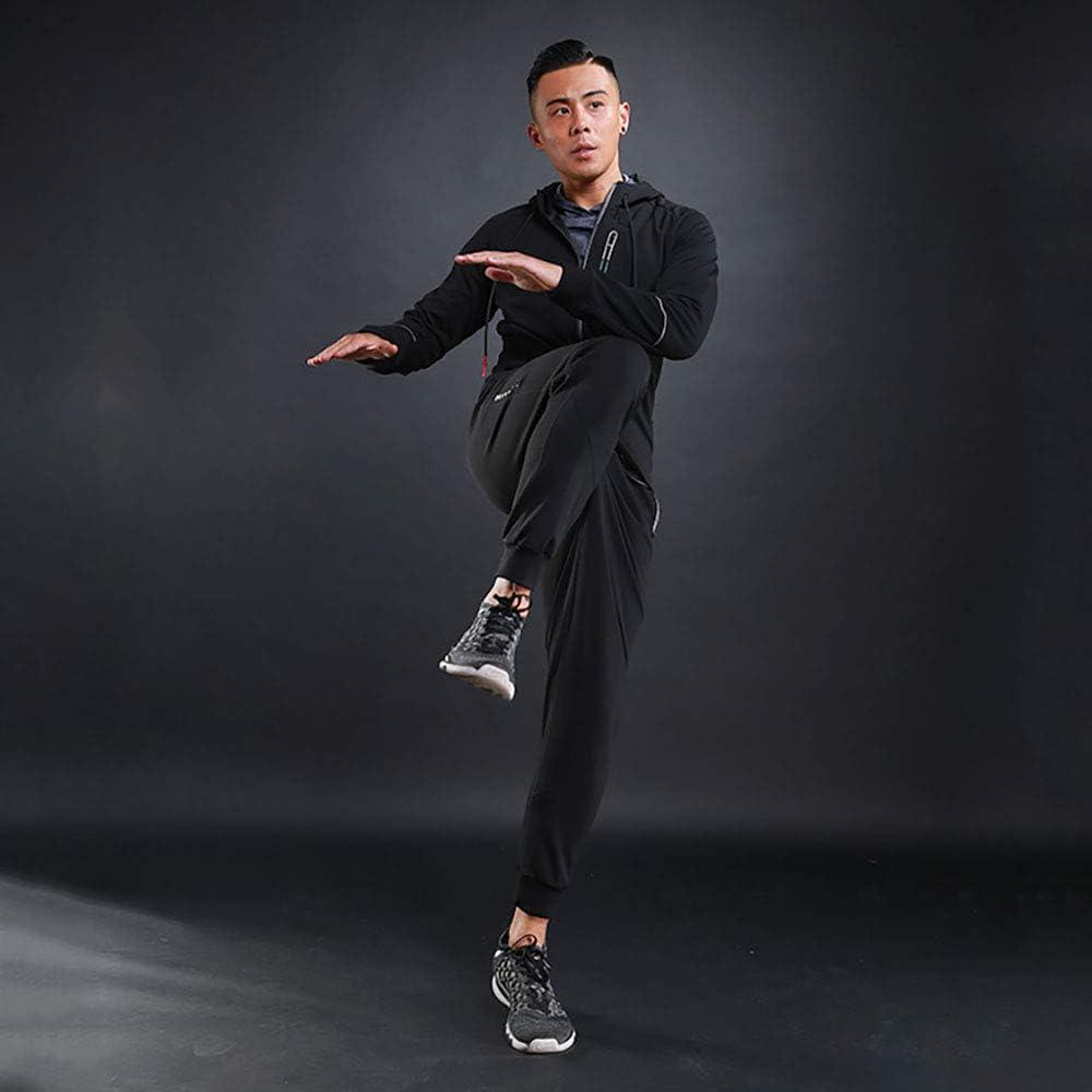 2pcs Hooded Zipper Jacket Tops Elastic Sweatpants Yuntown Men Tracksuits Set