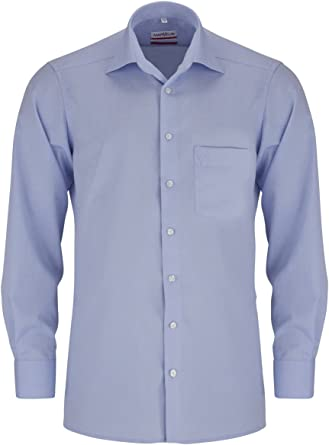 extra langer 69cm Arm Marvelis Hemd Modern Fit Print Kontrastknöpfe hellblau