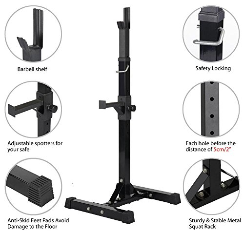 Yaheetech Pair of Adjustable Squat Rack Standard Solid Steel Squat Stands Barbell Free Press Bench Home Gym Portable Dumbbell Racks Stands 44''-70'' by Yaheetech (Image #3)