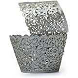 Tinksky 50pcs Cupcake Wrappers Wedding Birthday Party Baby Shower Wrap (Silver)
