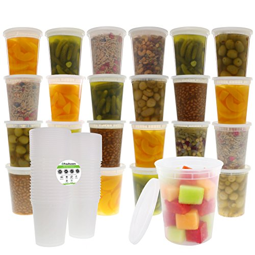 Freshware 24-Pack 32 oz Plastic Food Storage Containers with Airtight Lids - Restaurant Deli Cups, Foodsavers, Baby, Bento Lunch Box, 21 Day Fix, Portion Control, and  Meal Prep Containers (Sandwich Carrier)