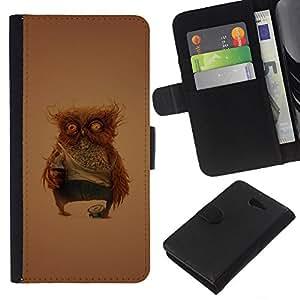 Stuss Case / Funda Carcasa PU de Cuero - Divertido Weird Owl - Sony Xperia M2