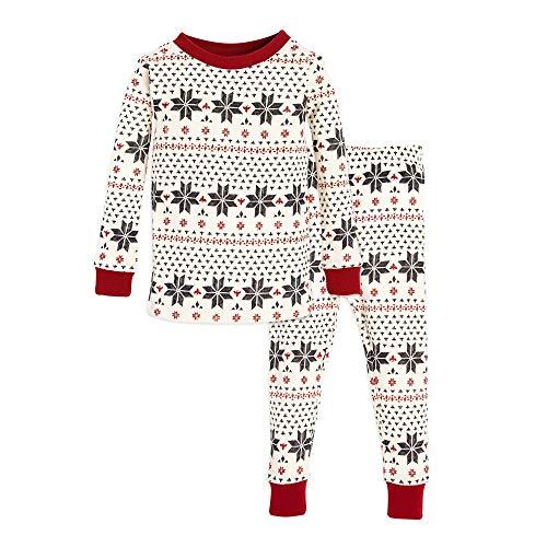 Drawn Cotton - Burt's Bees Baby Baby Toddler & Kids Pajamas, Tee and Pant 2-Piece PJ Set, 100% Organic Cotton, Hand Drawn Snowflakes, 3T