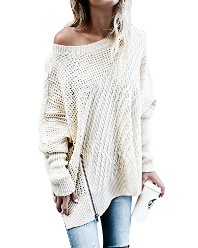 Cable Cashmere Sweater (Ofenbuy Womens Oversized Sweaters Batwing Sleeve Round Neck Patchwork Cable Knit Pullover)