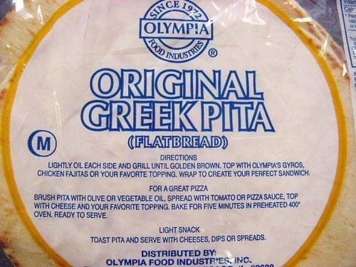 Olympia Original Greek Flat Pita Bread, 6 Inch, 2 Pound (Pack of 12)