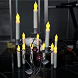 BOX of 12 Battery Operated LED Tapered Candles w/ Flickering Light Bulbs!