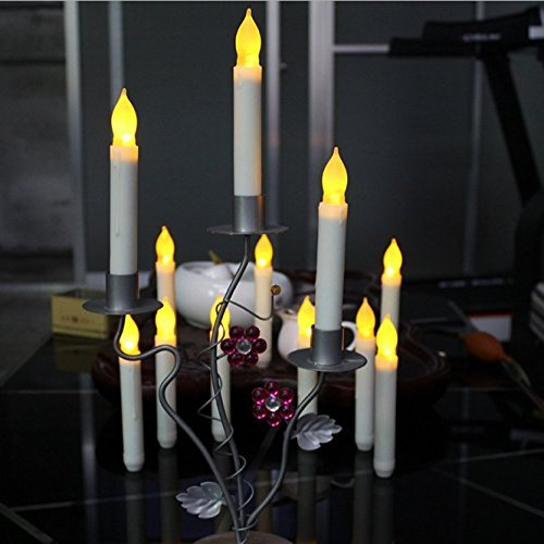 Plantation Candlestick - BOX of 12 Battery Operated LED Tapered Candles w/ Flickering Light Bulbs!