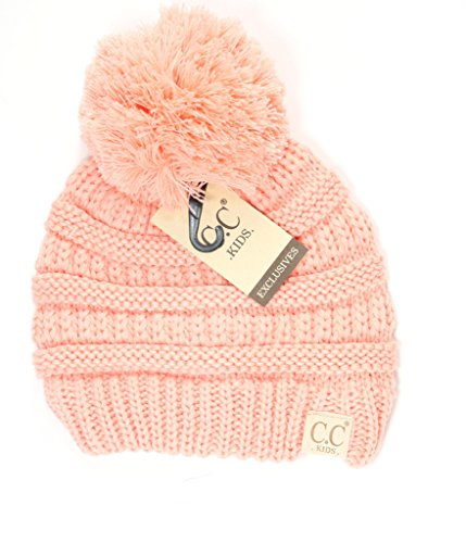 Motobear CC Kids Beanie Hats Baby Toddler Knit Children Pom Winter Hat CC Beanie 2-7 years-15 Colors