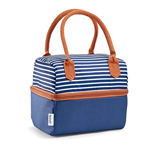 Fit & Fresh Ivy Insulated Dual Compartment Lunch Bag, Classic, All-Purpose Bag, Navy Nautical Stripe