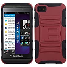 MYBAT ABB10HPCSAAS003NP Advanced Rugged Armor Hybrid Combo Case with Kickstand for BlackBerry Z10, Retail Packaging, Red/Black