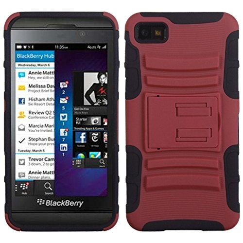 MyBat ABB10HPCSAAS003NP Advanced Rugged Armor Hybrid Combo Case with Kickstand for BlackBerry Z10 - Retail Packaging - Red/Black