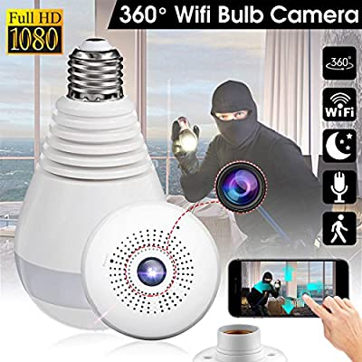 Wireless 360 Security Camer, Hidden Fish Eye Security, Hidden Fish Eye Security Camera IP Light Bulb, Home Monitoring Security System, Motion Detection and Two Way Talking for iPhone/Android Phone/ iP
