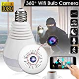 Wireless 360 Security Camera, Hidden Fish Eye Security, Hidden Fish Eye Security Camera IP Light Bulb, Home Monitoring Security System, Motion Detection and Two Way Talking for iPhone/Android Phone/IP