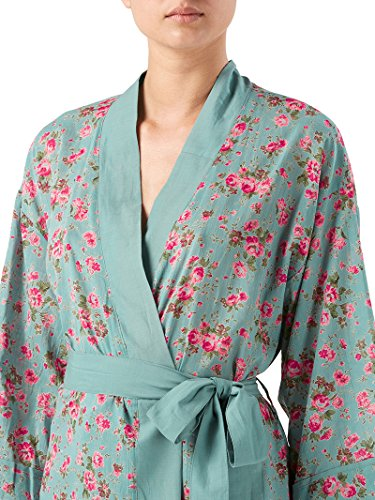 Cotton Kimono Dressing Gown In Rambling Rose Dusky Blue Amazonco