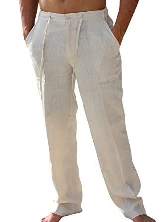 753473a144 Enjoybuy Mens Summer Cotton Linen Long Casual Pants Elastic Waist Loose Fit  Beach Pants
