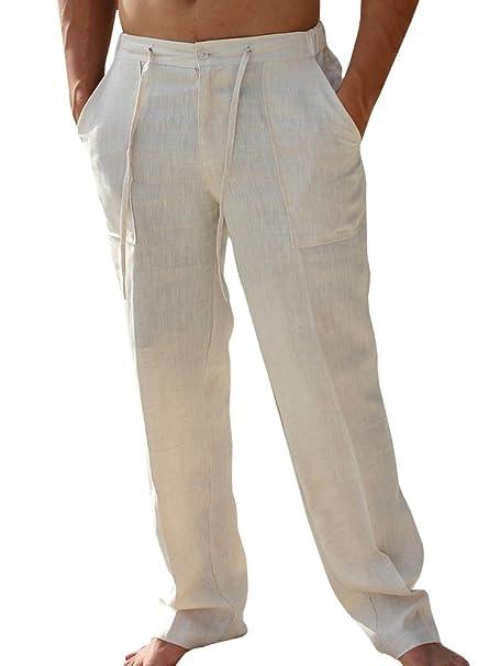 große Vielfalt Modelle Sortendesign bieten viel Pxmoda Leinenhosen Herren Freizeithose Lang Leichte Sommerhose Strandhose  Leinen Kurze Hosen Herren Lässige Freizeithose mit Seitentaschen