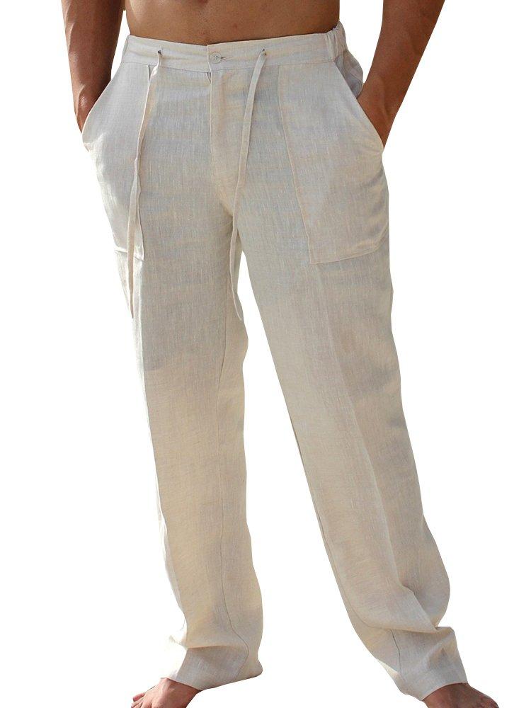 Runcati Mens Linen Pants Beach Palazzo Casual Loose Fit Work Elastic Waist Drawstring Cargo Trousers Pockets