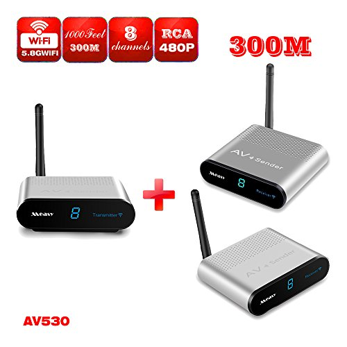 Measy AV530-2 (1X2) 5.8GHz 8 Channel HDMI TV Wireless SD Audio Video Transmitter + 2 Receivers supports transmit 300m(1000feet)
