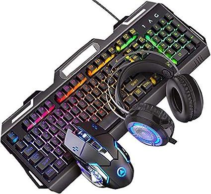 Ganquer Teclado para Gaming Ratón Set Duradero Escritorio LED Retroiluminación con Cable USB Ordenador Teclado para Gaming y Ratón Combo - Negro + ...