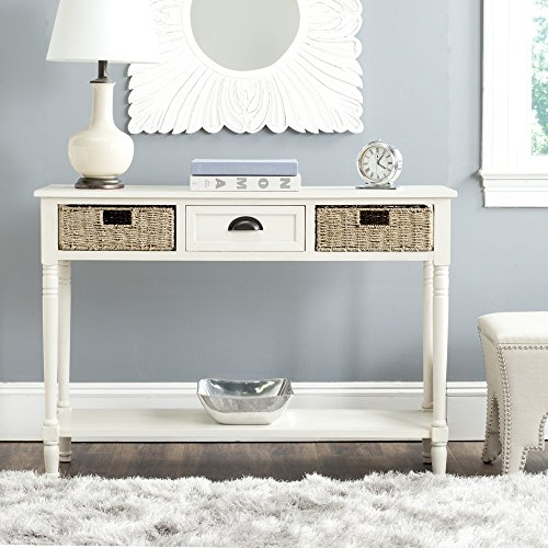 Safavieh Home Collection Winifred White Wicker Console Table with Storage