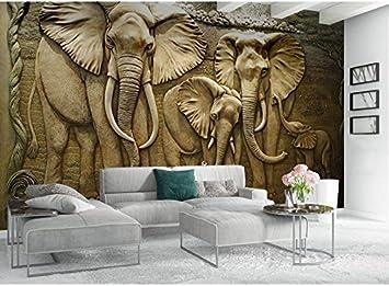 Wh Porp Wandpapier 3D Stereoskopische Geprägte Graue Afrikanische Elefant  Abstrakte Kunst Wandbild Wohnzimmer Schlafzimmer 3D