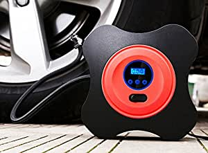 12V DC Air Compressor Pump, Digital Tire Inflator with Digital Gauge, 3 High-air Flow Nozzles & Adaptors for Cars, Bicycles and Basketballs (Red)
