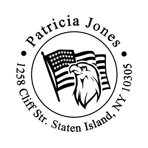 Custom Personalized Self Inking Return Address Stamp United States National Flag Stars Stripes Eagle Head Owl Design for Card Making Xmas Gift ()