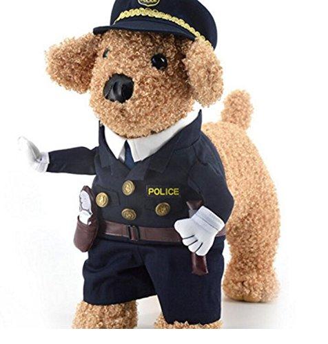 Tuersuer Cute Cat Clothing Pet Police Uniform Black